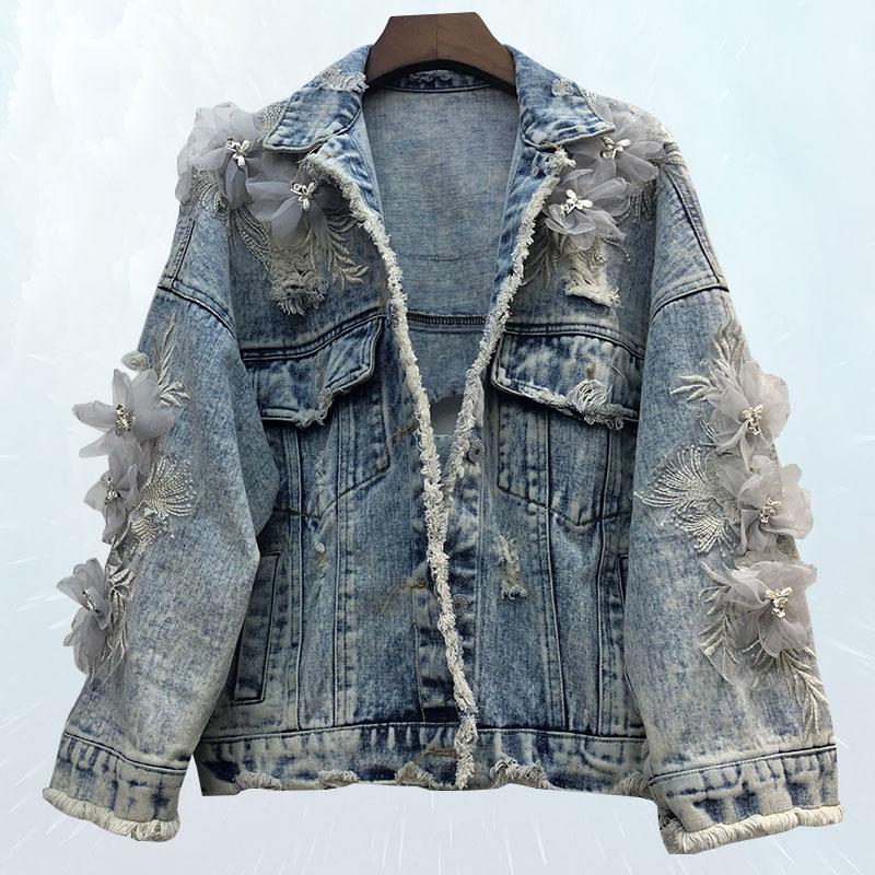 Spring Women Embroidery Three-dimensional Flower Jacket Wash Water Hole Raw Hair Denim Coat BF Wind Loose Basic Jeans Jacket 189