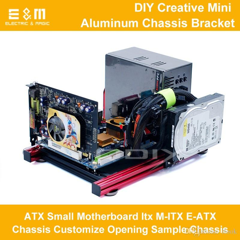 Freeshipping PC Open Frame Test Bench Computer Overlock Air Case Mini Aluminum Bracket for M ATX ITX E-ATX HTPC Motherboard DIY Mod