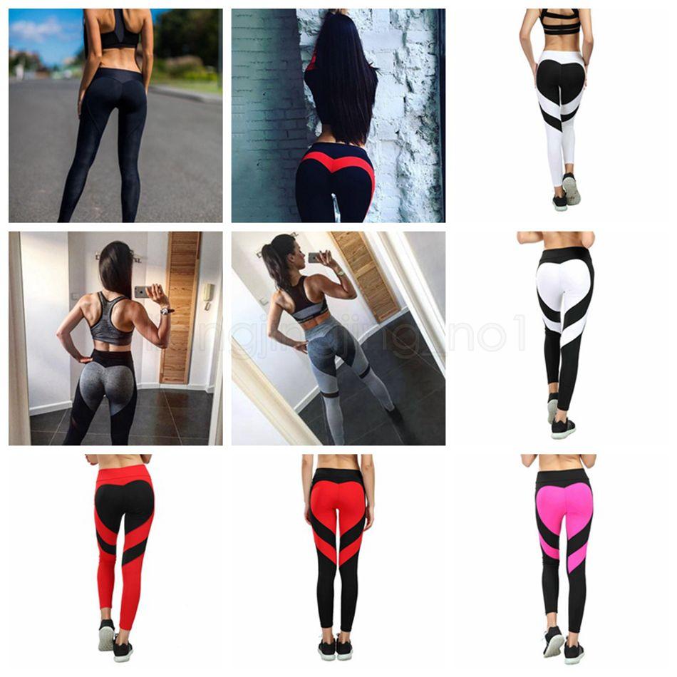 c7961a675a4a8 2019 Women Heart Shaped Yoga Leggins Fitness Leggings Skinny High Waist Elastic  Push Up Gym Sport Pants Women Workout Bottoms Pants AAA1619 From ...