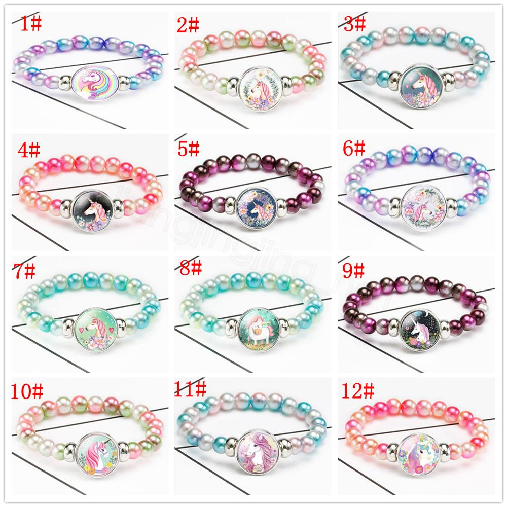 12styles unicorn Beads Bracelet Imitation Pearl Acrylic Bangles animal cartoon Wristband Party Souvenirs favor kids birthday gift FFA3128-3