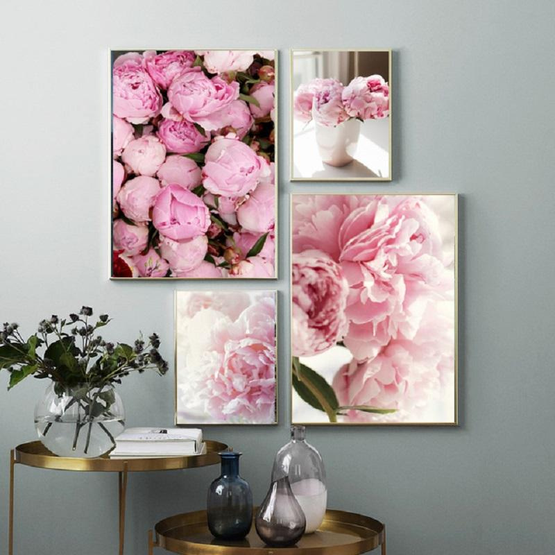 Peony Print Floral Botanical Wall Art Pastel Pink Flowers Poster Canvas Paintings for Living Room Home Decoration Pictures