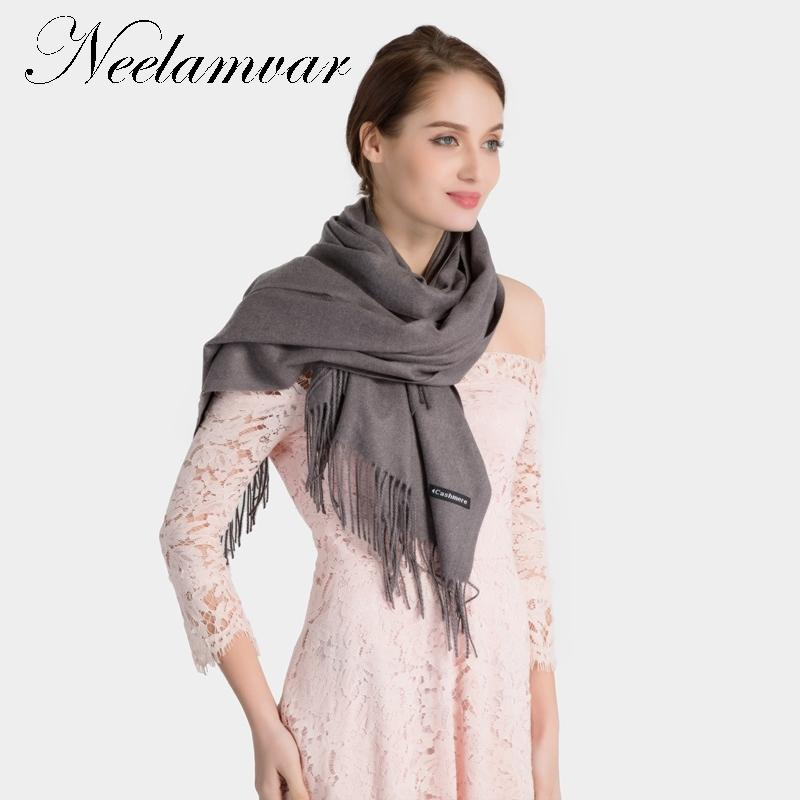 wholesale brand New Luxury Solid scarf women Winter Fashion Cashmere shawls Tassel thick warm pashmina Elegant Neckerchief wraps