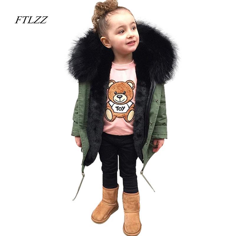 05e89f291090 New Boys Girls Fur Coats Parkas Children Big Faux Fox Fur Coat Winter  Thicken Warm Jackets Kid Fur Collar Hooded Outerwear Parka Jacket Kids  Jacket For Boy ...