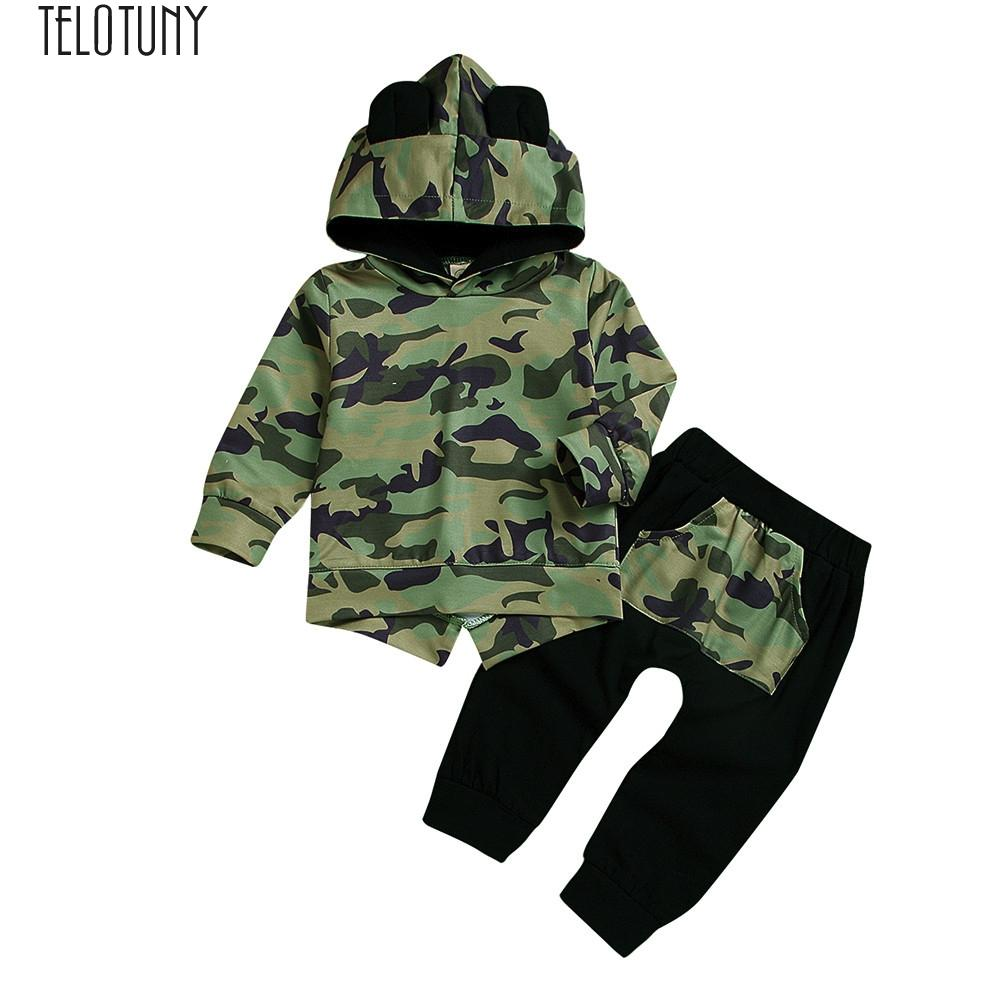 13ea0dccb TELOTUNY Outfit Toddler Baby Boy Hoodie Cartoon Ears Camouflage ...
