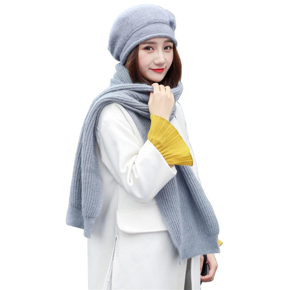 efb0e902a81 2019 Set Hat And Scarf Gift For Mom Grandmother Winter Women Warm Cap  Scarves Thick Knit Scarf Fashion Fur Beanie Accessories From Fotiaoqia