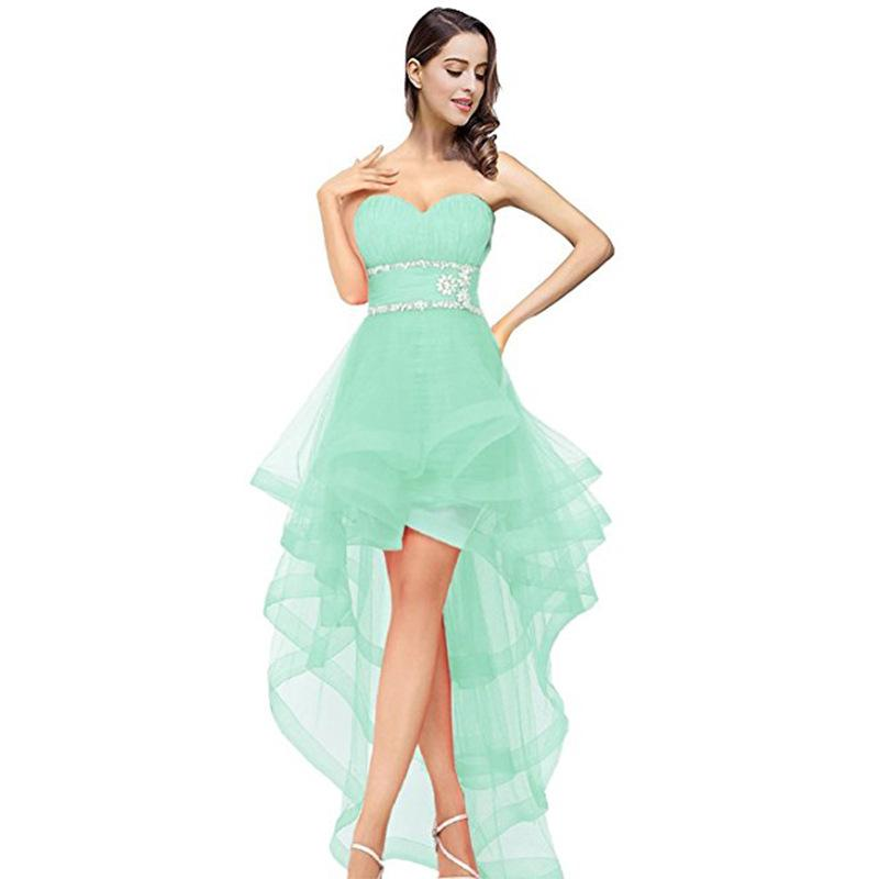Country Bridesmaid Dresses 2019 Cheap Mint Green Organza Sweetheart High Low Beaded Prom Party Wedding Guest Dress Maid Honor Gowns