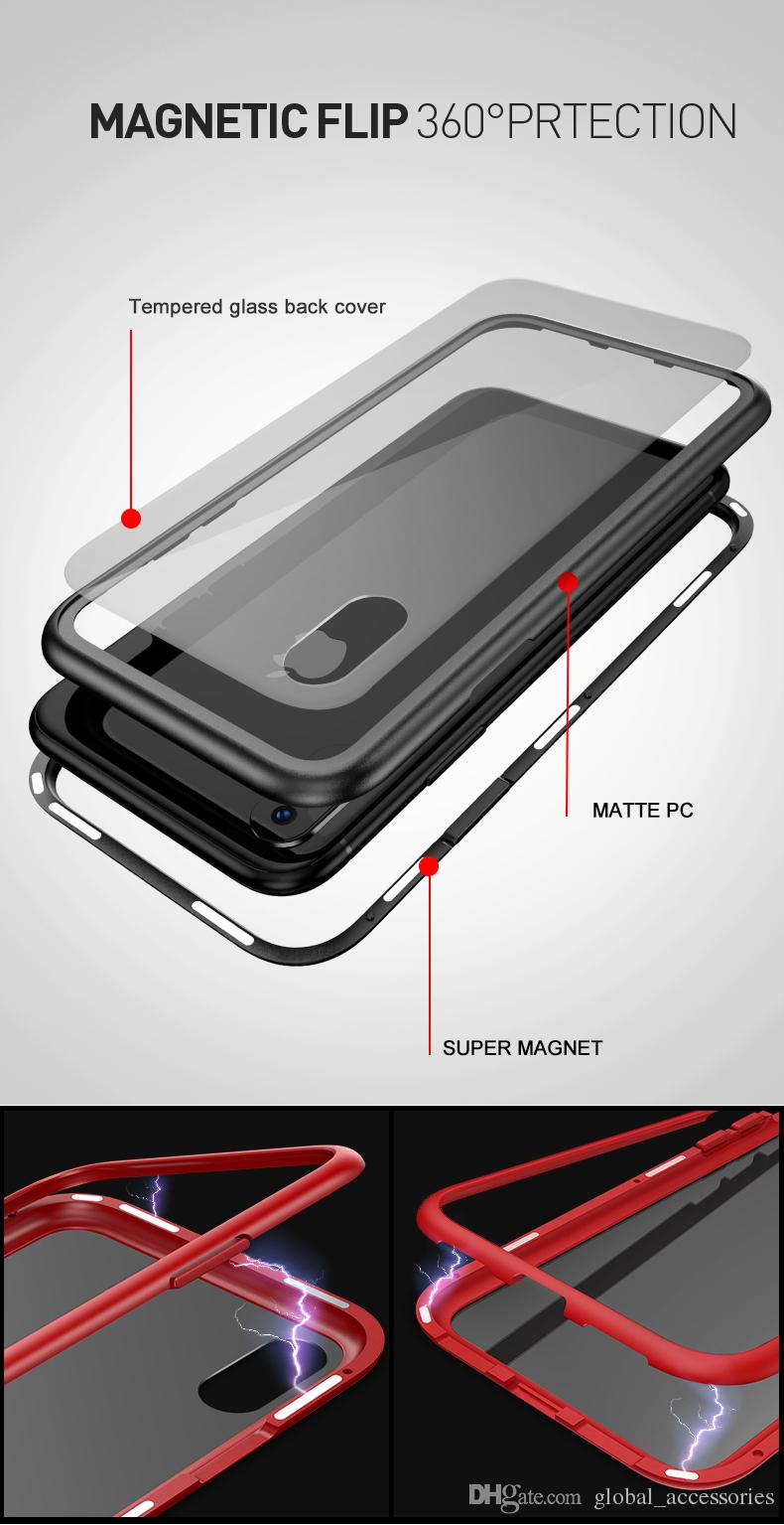 Magnetic Adsorption Metal Phone Case for iPhone Xr Xs Max X 8 Plus Full Coverage Aluminum Alloy Frame with Tempered Glass Back Cover