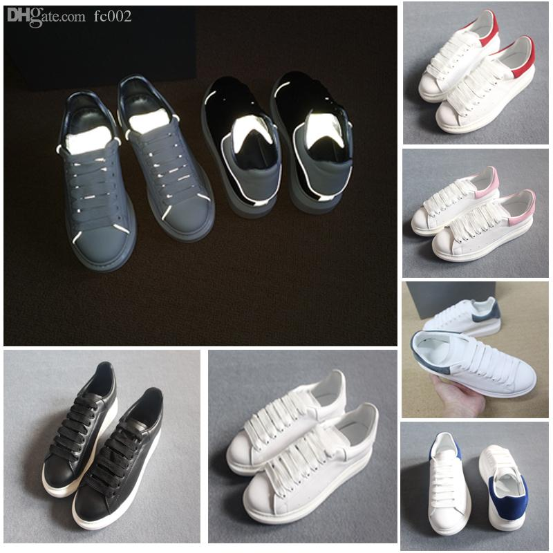 Designer white black leather casual shoes 3M reflective for girl women men fashion comfortable flat sneakers