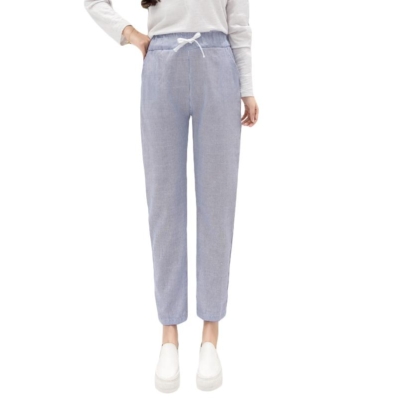 966559cbb3 Compre Nijiuding 2019 Nuevo Otoño Primavera Tobillo Longitud Pantalones  Mujeres Elástico Cintura Alta Pantalones Harem Rayas Pequeños Pantalones  Casual ...