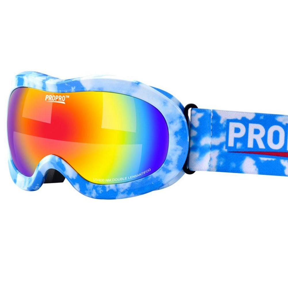 Propro Childrens Skiing Glasses Double-layer Shockproof Lens Colorful Coating Warm Breathable Outdoor Anti-fog Skiing Goggles Skiing Eyewear