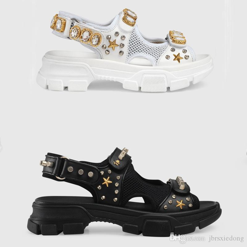3c4a7504a7db 2019Designer Riveted Sports Sandals Luxury Diamond Brand Men S And Women S  Leisure Sandals Fashion Leather Outdoor Beach Slippers Large Size Fashion  Shoes ...