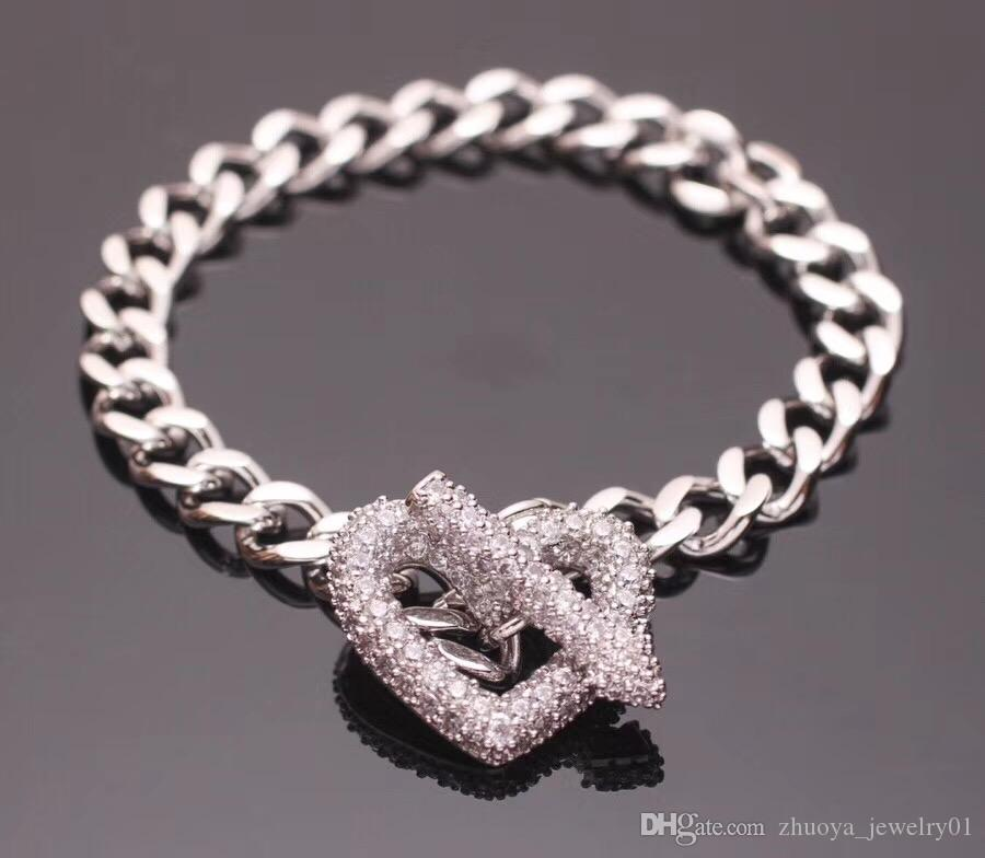 Latest designer jewelry women bracelets stainless steel heart bracelet diamond fashion cuff bracelet accessories