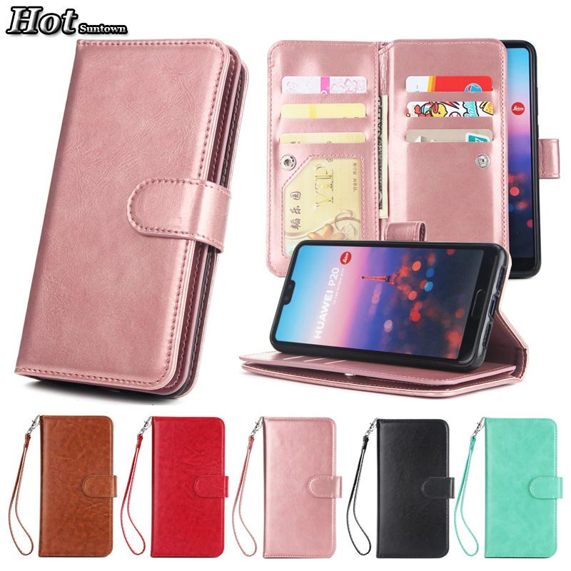 finest selection a4baa c07ce Funda Huawei P20 Pro Case Leather Vintage & 9 Card Wallet Cover Coque  Huawei P20 Lite Case Flip Phone Cases For Huawei P20 Plus