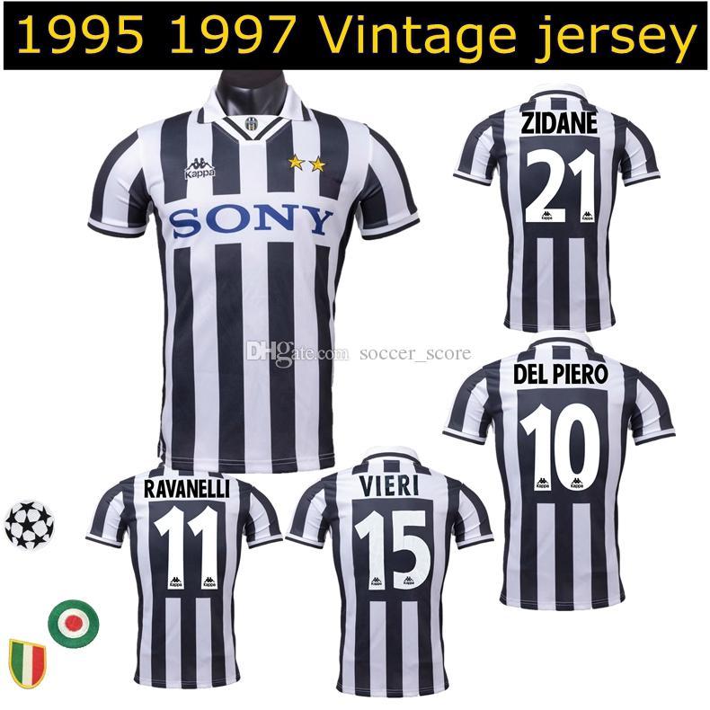 designer fashion ce812 e42e7 1995 1996 1997 Juventus vintage soccer jerseys 95 96 97 ZIDANE DEL PIERO  Vialli Vieri Di Livio Conte retro classic football shirt