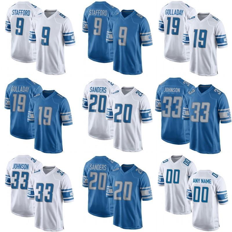 big sale c5ee6 b3cec Mens Detroit 20 Barry Sanders 1 T.J. Hockenson 33 Kerryon Johnson 19 Kenny  Golladay 9 Matthew Stafford Lions Darius Slay Jr Football Jerseys