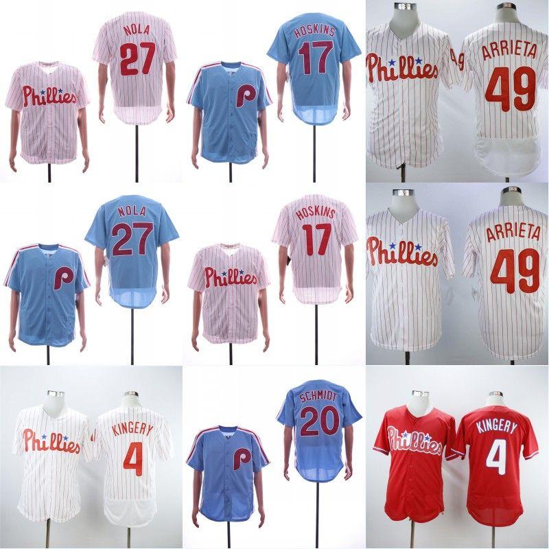 best service 5ddfd eb9d3 7 Maikel Franco Men Philadelphia Baseball Jersey Phillies 17 Rhys Hoskins  27 Aaron Nola 49 JakeArrieta 4 Scott Kingery Mike Schmidt 4Dykstra