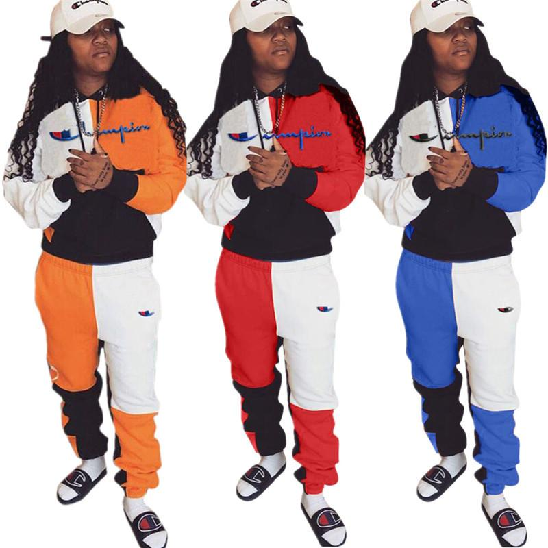 a840dcdf00 Women Champions Letter Print Tracksuit Long Sleeve T Shirt Top Pants  Leggings 2PCS Set hoodie Outfits Sportswear Patchwork Suit S-3XL