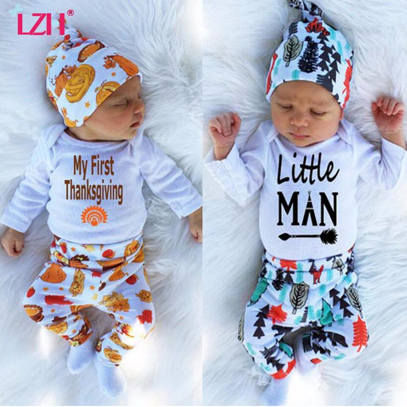 wholesale 2018 Autumn Winter Newborn Baby Boys Clothes Set My First Thanksgiving Outfit Romper+Pant+Hat Sets Baby Suit Infant