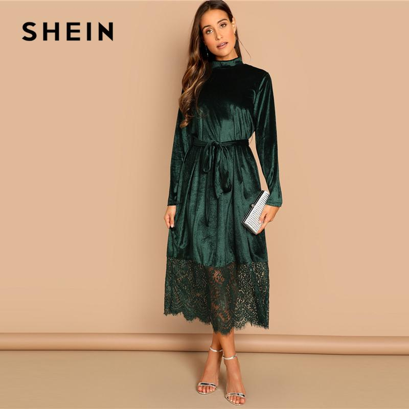 ea994b2a1a SHEIN Green Waist Belted Mock Neck Velvet Dress Long Sleeve Lace Hem Solid  Dress Casual Elegant Women Autumn Modern Lady Dresses Summer Dress Short  Dresses ...
