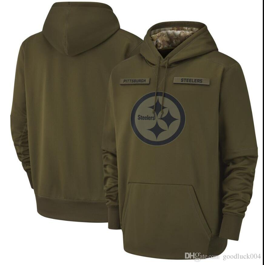 best website fff71 b1101 2018 Men Women Youth Pittsburgh Sweatshirt Steelers Salute to Service  Sideline Therma Performance Pullover Hoodie Olive