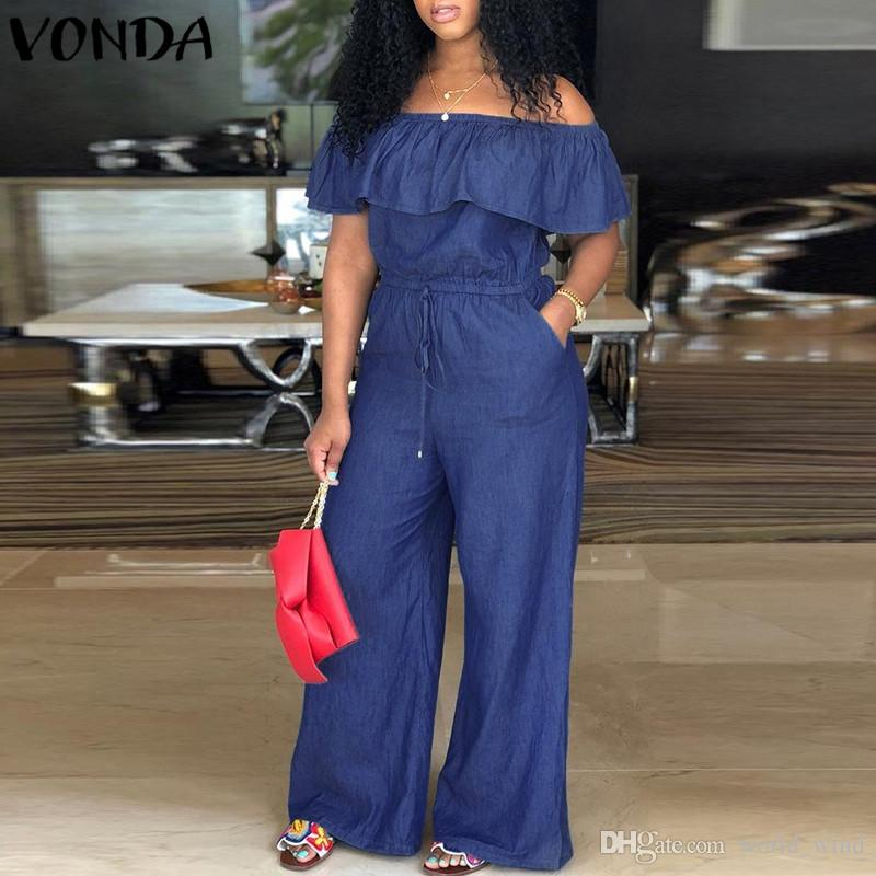 3a92cc56ca75 2019 VONDA Denim Rompers Womens Jumpsuit 2018 Summer Sexy Slash Neck Off  Shoulder Ruffles Playsuits Plus Size Wide Leg Pants Overalls  400855 From  ...