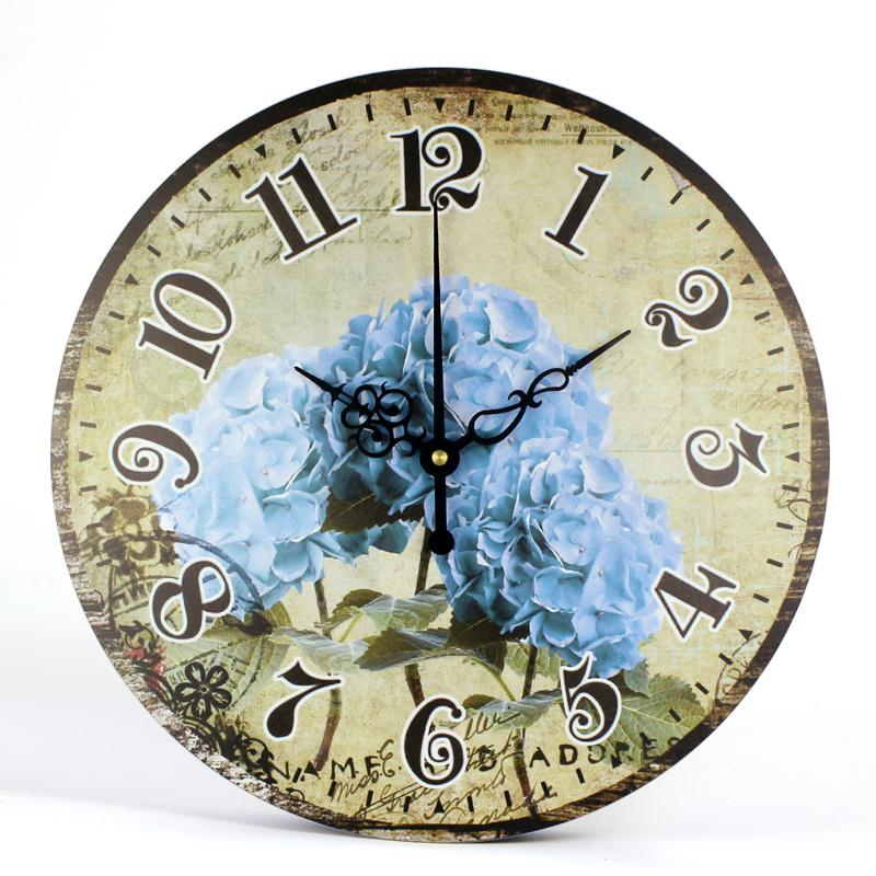 2e86a57855d1 Compre Retro Diseño Moderno Grande Grande Decorativo Azul Flores Relojes  Reloj De Pared Cocina Niños Sala De Estar Decoración Para El Hogar Reloj  Relojes De ...