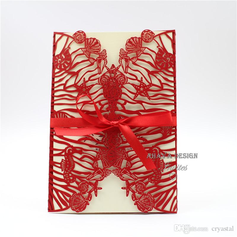 Luxury Pearl Red Laser Cut Wedding Invitation with Customized Insert, Envelope And Ribon, Elegant Laser Invite For Wedding