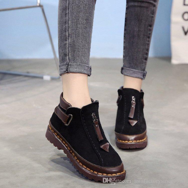 Compre 2019 Moda Cálido De Piel De Las Mujeres Botas De Nieve Planas De  Invierno Zapatos De Mujer Botines De Moda Femenina Antideslizante Zapatos  Casuales ... eca1887556e2