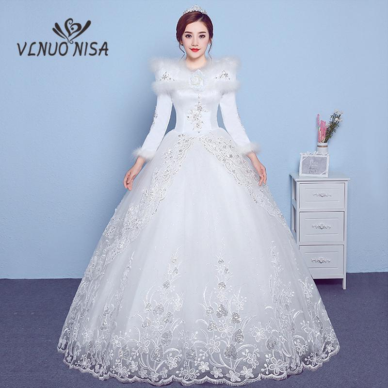 compre venta al por mayor manga larga vestido de novia de invierno