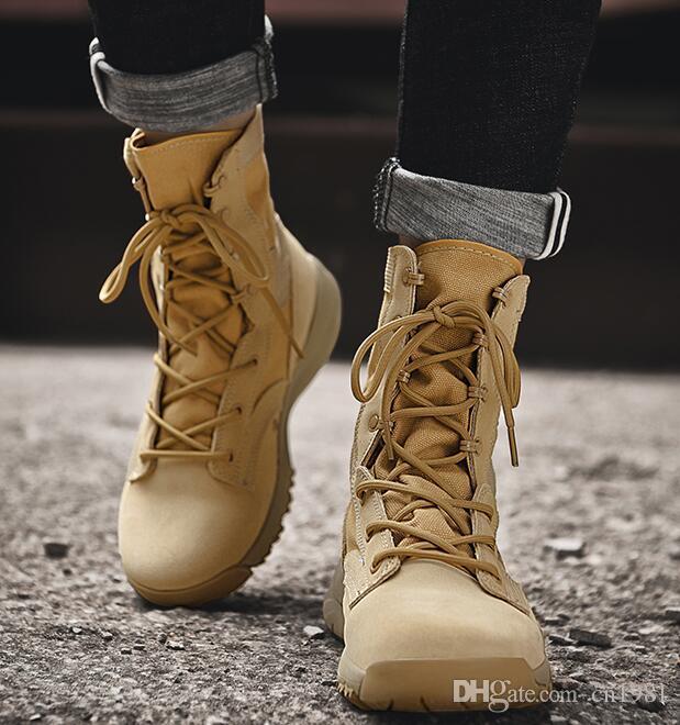 b9cdd4f7aa8c5 Compre Botas De Nieve Para Hombre Y Mujer High Top Al Aire Libre Desert  Boot Unisex Zapatos De Viaje A Campo Traviesa Botas Vaqueras De Motocicleta  De Alta ...