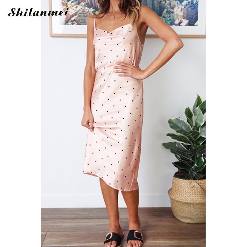 e091aa3c7208 Sexy Summer Midi Dress Women 2019 Women Stylish Spaghetti Strap ...