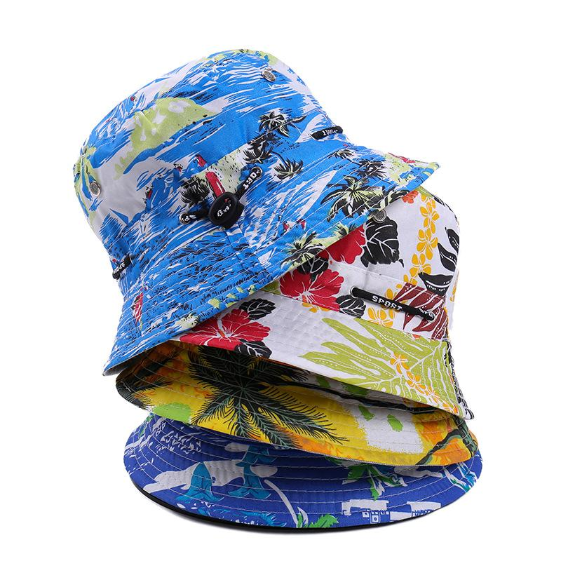 c864a84d7 Ladies wearing outdoor hats on both sides Sunscreen fishermans hat  flowercolored basin hat Korean version of mens leisure fishing sunshade