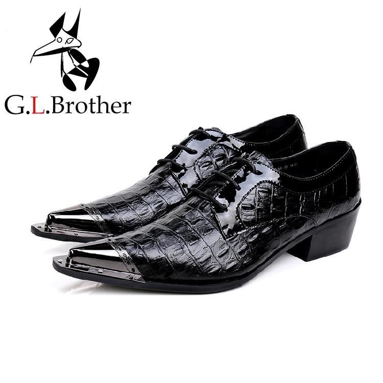Nuevo Imitar Hombres Puntiagudos Cuero Genuino Diamante Enrejado Zapatos Vestido De Boda Dedos Tipo Cordones Los Oxford Con XN8OkZn0wP
