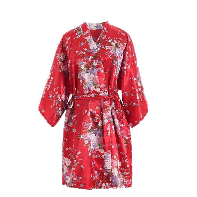 1c7f5c766d1b 2019 Women Sleepwear Sexy Cherry Blossom Kimono Dressing Gown Bath Robe  Lingerie Nightdress Satin Bride Sleepwear Bridal Party  ZA30 From Cfendou