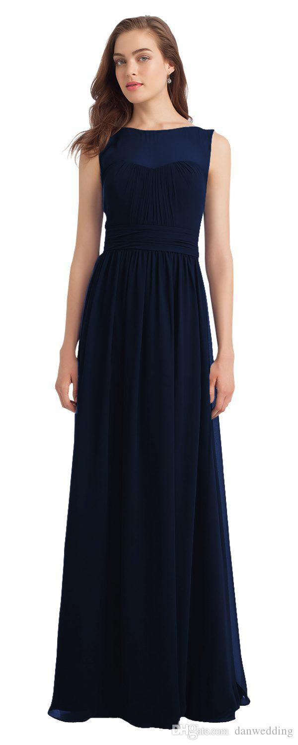 Beauty Navy Blue Chiffon Scoop Junior Bridesmaid