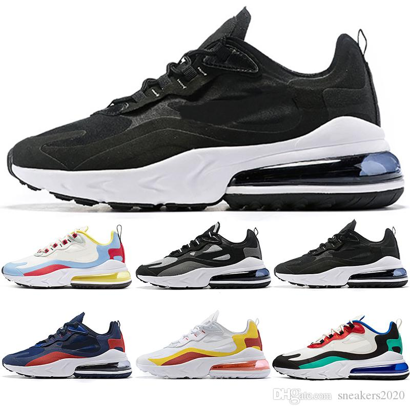 55fb8008428b4d Compre Nike Air Max 270 React Marca De Luxo Meias Sapatos Para Homens  Mulheres Tênis De Corrida Preto Branco Vermelho Azul Oreo Mens Designer  Formadores ...