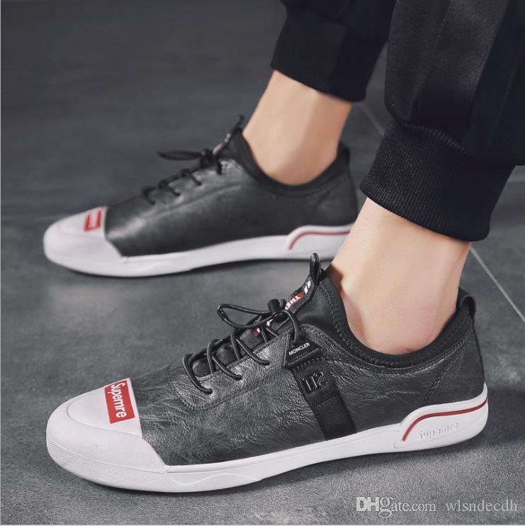 9a708b7f577 Acheter 2019 Nouvelle Arrivée Hommes Noir Confort Confort Chaussures Haute  Qualité Blanc Chaussures De Sport Homme En Cuir Avec Maille Respirant  Chaussures ...