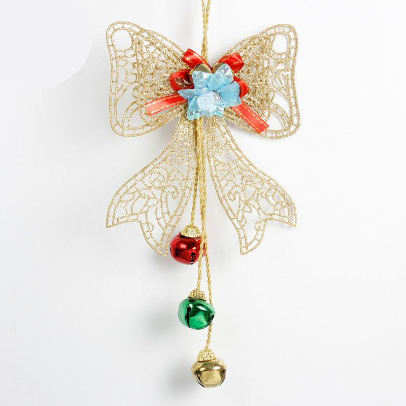 Gold Powder Christmas Bowknot With Bell For Xmas Christmas Tree Door