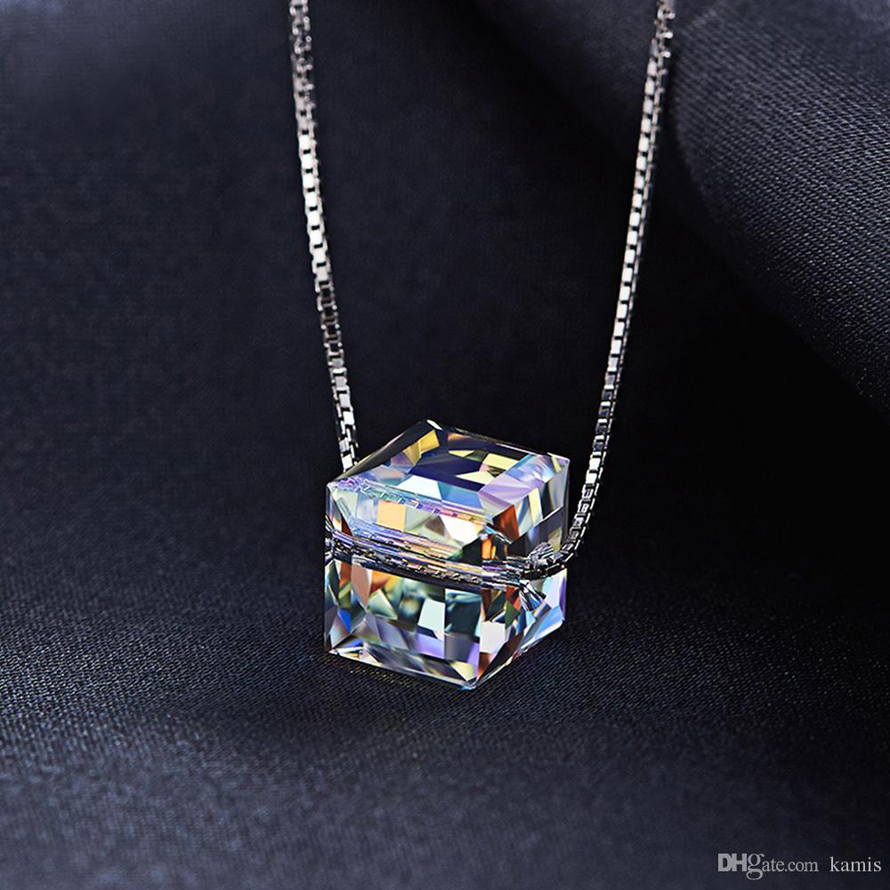 29bf8bb6fd57 Cristales más vendidos de SWAROVSKI Collar de cuentas de cubo colgantes con  cadena de caja Collares para mujeres boda elegante regalo
