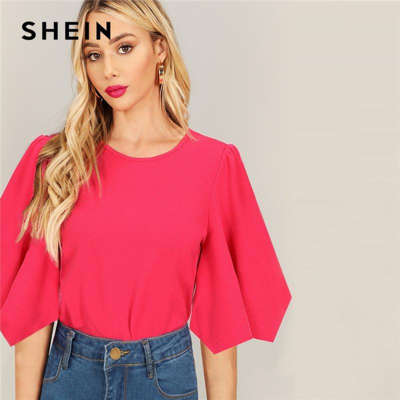 Shein Hot Pink Asymmetrical Flounce Cuff Neon T Shirts Women Tee
