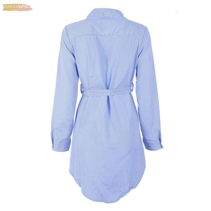 Embroidery Women Long Blouse Belted And White Striped Lapel Long Sleeve Self Blue Embroidered Shirt Women Clothes