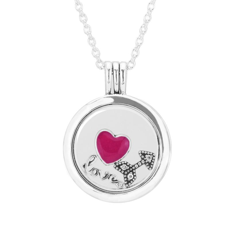 75010e349ac1 2019 Medium Size Round Glass Floating Locket Statement Necklaces  Amp  Love  Heart Arrow Small Petites DIY 925 Sterling Silver Jewelry From Youerjerry