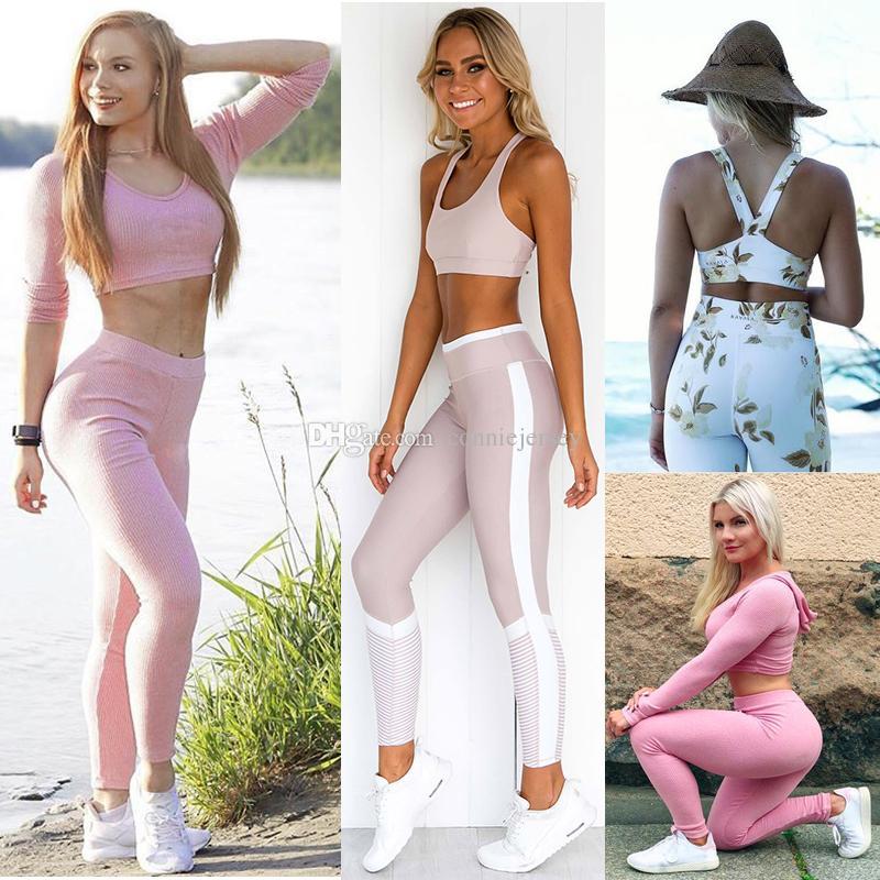 25dbf75bc2f13 Acheter Costume De Yoga Chemise De Course Ensemble De Yoga Jambières De  Gymnastique Gilet Femme Sportwear Collants Fitness Costume Sport Pantalon  Long ...