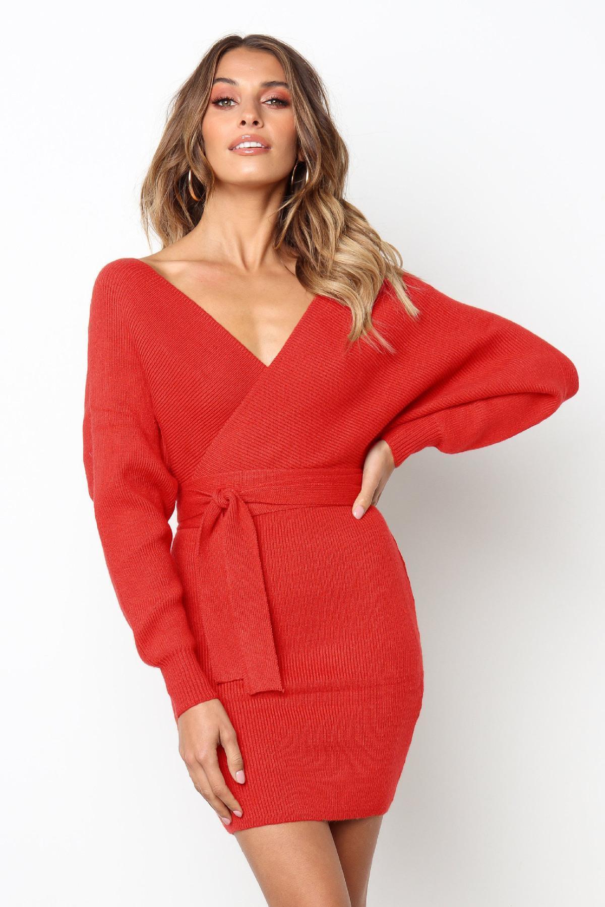Good Quality Women S Dress Autumn 2019 Sexy Deep V Neck Long Sleeved Cross Lace  Dress Women S Knitting Bandage Mini Hip Dress Red Long Dress For Summer ... bae9a85104