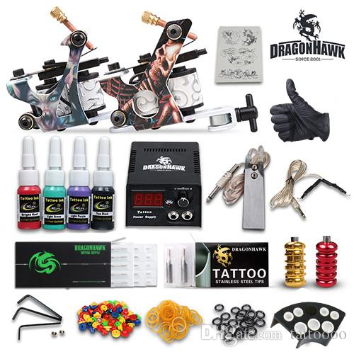 Professional Complete Tattoo Kits 2 Machines Guns Color Inks Sets ...