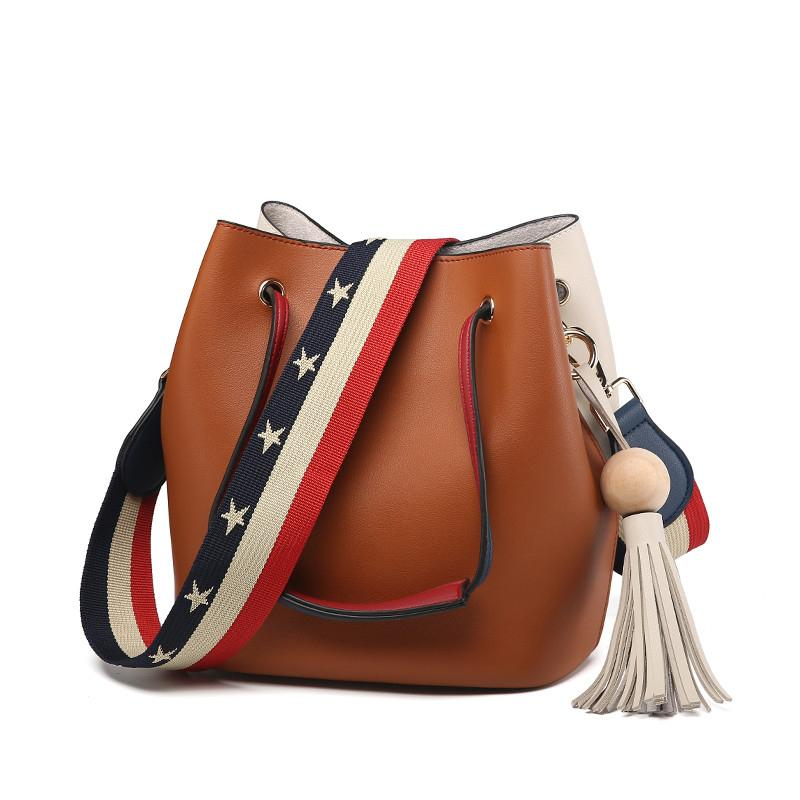bcd0ce50837d 2019 Girls Cute Bucket Bags Bucket Leather Shoulder Sling Bags For Women  Drawstring Handbags Ladies Small Crossbody Bucket Bag
