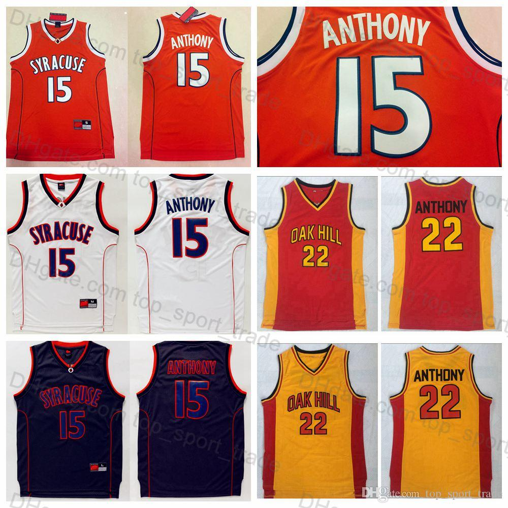 a32a7f401d3 2019 Syracuse College Mens  15 Carmelo Anthony Jersey Mens Orange White  Yellow Oak Hill High School Carmelo Anthony Basketball Jerseys Stitched From  ...