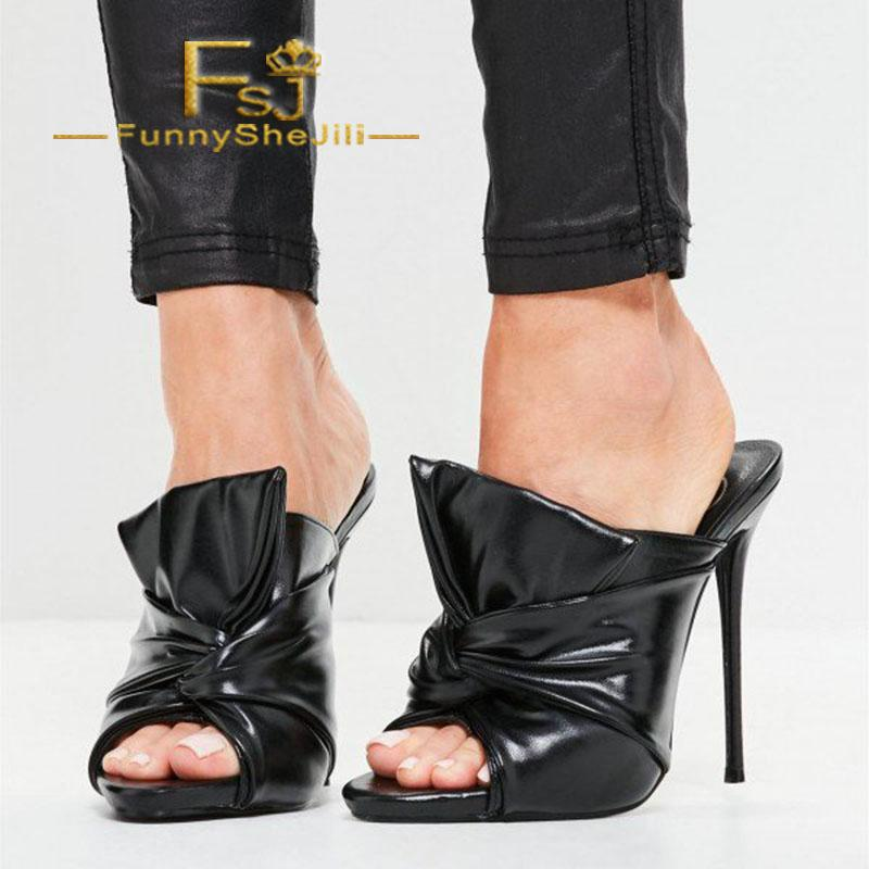 6cc021e08a8 Black Mule Heels Peep Toe Knot Stiletto Heels Sandals Slip On Summer  Incomparable Attractive Generous Noble Fashion FSJ Sexy Comfortable Shoes  Discount ...