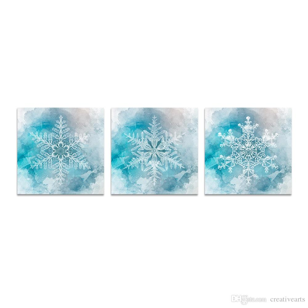 Unframed Canvas Prints Winter Theme Winter Snowflake Abstract Watercolor Painting Blue Background Modern Art Print on Waterproof Canvas