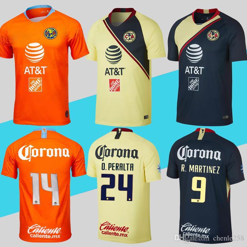 2d99cb379e Liga MX Club America Soccer Jersey Home Away Tercero R.MARTINEZ O.PERALTA  2018 2019 Camiseta De Fútbol Más Envío De DHL Gratis Por Chenle258